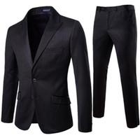 лучшие свадебные платья оптовых-XF008 New Men Suit 2 Pieces Professional Business Suit Best Man and Groom Wedding Dress Mens Suits Blazers  Male Clothing