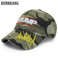 tarnung armee verstellbaren hut groihandel-Hohe Qualität Trump 2020 Hut Camouflage Cap Amerika Stickerei Herren Baseball Cap Adjustable Stern Brief Camo Army Cap Für Erwachsene CpotQ