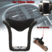 Wholesale beautiful phone holder online – custom Beautiful appearance Universal Mobile phone holder Car Phone Holder Mount with Crystal Rhinestone Car Air Vent Clip