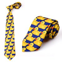 ingrosso anatra fantasiosa-1 PC Fashion Casual Tie Hot TV Show Giallo Ducky Cravatta fantasia Fancy Duck Pattern Tie Spedizione gratuita
