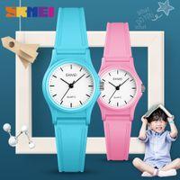 Wholesale kids watches resale online - SKMEI NEW Kids Watches Plastic Case Boys Girls Children Watch Outdoor Sports Waterproof PU Starp Quartz Wristwatch reloj