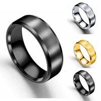 ingrosso colore argento opaco-Moda semplice opaco doppio smusso anelli in acciaio inox per donna uomo ragazza regali argento oro nero anelli di colore