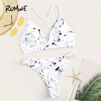 ingrosso fondo bianco bikini sexy-Romwe Sport Bikini Set modello in marmo bianco Top incrociato con fondi a taglio alto Donna Summer Sexy senza fili Lace up Swimwear