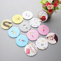Wholesale makeup tools cute resale online - Makeup Mini Mirrors Dressing Pocket Mirror Cute Cartoon Pattern Portable Compact Cosmetic Small Mirrors Beauty Tools Women