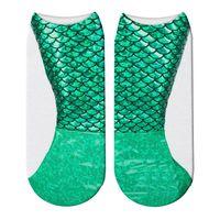 chaussettes directes d'usine achat en gros de-Chaussettes sirène chaussette bouche peu profonde Intéressant 3D impression numérique plus couleur femmes garder au chaud Factory Direct 2 5el C1