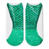 fabrik direkt socken großhandel-Meerjungfrau-Socke Flacher Mund Socken Interessanter 3D-Digitaldruck Mehr Farbe Frauen Warmhalten Fabrik Direkt