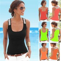 Wholesale womens sleeveless t shirts for sale – custom Shiny Sequins Tank Vests Strapless Sleeveless Outdoor Tank T Shirts Fashion Womens Summer Home Clothes yl E1