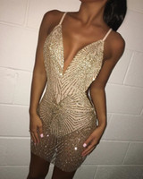 Wholesale sexy party cocktail dress for sale - Group buy 2019 Sexy Short Party Dresses Blingbling Gold Beaded Cocktail Dress See Through Sleeveless Cheap Club Wear
