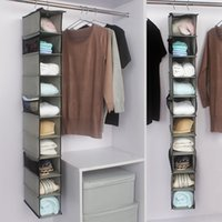 Wholesale cloth wardrobes resale online - Suspension Type Shoe Storage Box Non Woven Fabrics Creative Wardrobe Acceptance Cloth Home Receive Bag Brown Shoes Pouch kjD1