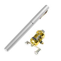 mini canetas de pesca caneta venda por atacado-Portátil Mini Bolso Fish Pen Liga De Alumínio Vara De Pesca Pólo + Carretel Portátil Mini Caneta De Pesca Pólo
