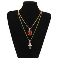 rubine halsketten-sets großhandel-Ägyptische Ankh Schlüssel des Lebens Bling Strass Kreuz Anhänger mit rotem Rubin Anhänger Halskette Set Männer Hip Hop Schmuck