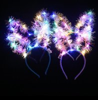 Discount led cat party lights LED Hair Hoop LED Light Up Hair Wreath Hairband Garlands Christmas Glowing Party Flower Headband Cat Ears Hairbands XD22680