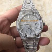 relojes mov al por mayor-15400 Baguette Diamond Watch Hombre Reloj Iced Out de alta calidad Juego automático de lujo Qatch Diamond Impermeable 41 mm 316 Acero inoxidable Barrido Mov