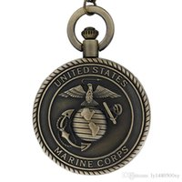 мужские наручные часы оптовых-Старинные Бронзовые Мужские Часы ВМС США Корпус Морской Пехоты Кварцевые Карманные Часы Ожерелье для Мужчин Мальчиков Ретро Военный Мужской Мужской Цепи Подарки