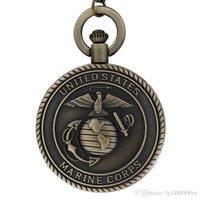 chaîne de montre mens achat en gros de-Vintage Bronze Mens Montres United States Marine Corps Marine Quartz Montre De Poche Collier pour Hommes Garçons Rétro Militaire Homme Unisexe Chaîne Cadeaux