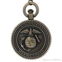 relógios mens venda por atacado-Vintage Bronze Mens Relógios Estados Unidos Marinha Corpo de Fuzileiros Navais de Quartzo Relógio de Bolso Colar para Homens Meninos Retro Militar Masculino Unisex Cadeia Presentes