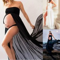 Wholesale sexy dresses for pregnancy resale online - 2019 Summer Sexy Maternity Dresses for photo shoot Women Strapless Maxi Long Pregnancy Dress Clothes Solid Black White Vestidos
