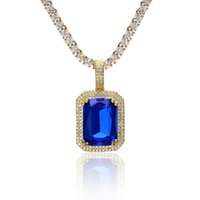 множественные ожерелья шарма оптовых-USENSET обледенел хип-хоп драгоценный камень кулон ожерелье Шарм дизайн одежды несколько цветов с 60 см длинной цепью ювелирных изделий