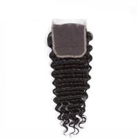 ingrosso pezzi di chiusura remy remy-LEDON 4x4 Top Lace Closure, Deep Wave DW, Colore 1B nero, Densità 130%, 100% Burmese Remy Human Hair Extentions, 1 Pezzo