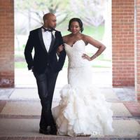 Wholesale bridal wedding dress organza resale online - 2020 African Lace Mermaid Wedding Dresses Vintage Sweetheart Organza Ruffles Bridal Gowns Plus Size Custom Made
