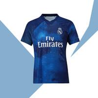 sınırlı sayıda futbol toptan satış-2019 Real Madrid Sınırlı Sayıda futbol Forması Mavi EA Spor Formalar # 12 MARCELO # 10 MODRIK Gerçek Madrid özel sürüm futbol Gömlek