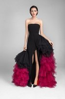 Wholesale plus size evening dress fuschia resale online - Black and Fuschia Tulle Tiered Long Prom Dresses Newest Strapless Side Split Party Celebrity Evening Gowns