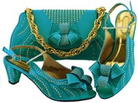 Wholesale african shoes matching handbags resale online - Most popular sky blue women kitten heel shoes with rhinestone bowtie style african shoes match handbag set for dress MM1077