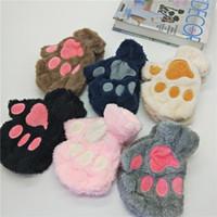 ingrosso indossare guanti di zampe-Morbido Cat Claw Guanti Anime costume cosplay Accessori domestico della peluche della zampa dell'orso I guanti di Halloween del partito delle donne Warm Mittens LJJA3586-4