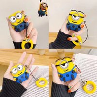 ingrosso coprire i minion-Custodia Airpods 3D Cartoon Cute Minions Custodia protettiva wireless in silicone per auricolari wireless per Apple AirPods 1/2 con cinturino per anello