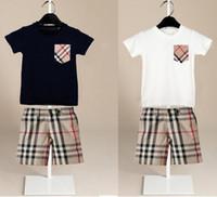 Wholesale baby boys shorts resale online - kids designer clothes boys lattice outfits children Short sleeve Tops Plaid shorts set Summer Boutique baby Clothing Sets C6548