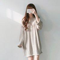 v boyun atlama elbisesi toptan satış-Kadınlar Uzun Kollu Jumper Elbise Kış V yaka kazak Akşam Partisi Mini Elbise D375