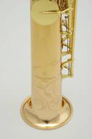 saxophone soprano droit achat en gros de-Yanagisawa S 902 B (B) Soprano Tuyau Droit Saxophone Marque Qualité Instruments de Musique Or Laque Laiton Sax Avec Étui