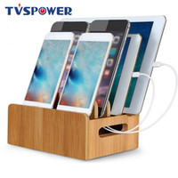 Wholesale tablet charger stand online – Bamboo Holder for iPhone Stand for Samsung Phone Cords Charging Station Docks Organizer Smart Phones and Tablets USB Charger