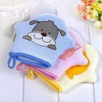 ingrosso tessuto asciugamano bambino-Cartone animato confortevole asciugamano in tessuto con sfregamento guanti da bagno Cuozao asciugamani bagno bambino doccia baby massaggio F2142