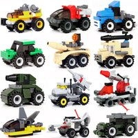 Wholesale road blocks for sale - Group buy 14 types of plastic assembled armored vehicle missile vehicle off road vehicle small block puzzle children s block toy