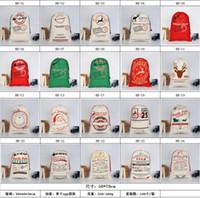 Wholesale refrigerator types resale online - Santa Sacks Monogrammable Santa Sack Large Drawstring Canvas Stocking Bag Reindeers Printing Santa Claus Sack Bags Christmas Gifts DHD322