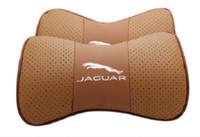 ingrosso sedili jaguari-Misura per Jaguar Car 2 pezzi in vera pelle seggiolino auto cuscino del collo cuscino poggiatesta auto
