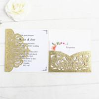 bolsos de convite venda por atacado-convite brilho casamento de ouro com bolso barriga banda de RSVP envelope dobrar convites decoração de casamento oferta de fornecimento de impressão