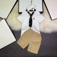 krawatten marken großhandel-Neu kommen die 2019 Jungen-Kleidung an, die gesetzte gesetzte Krawatten-T-Shirt + Hosenoberseite der hübschen 100% Baumwolle-GG-Marke Kinderjungenkleidung-Biene