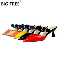 ремни шлепанцы оптовых-BIGTREE 2019  New Fashion Patent Leather High-heeled Slippers Pointed Color Matching Belt Buckle Baotou Half Slippers