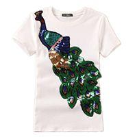 Noble Elegant T Shirt Women Peacock Sequined Sequins T-Shirt Womens Fashion Top Tee Shirts Femmer Lady Sakura Clothes