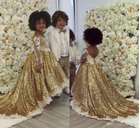 Wholesale lo embroidery resale online - Bling Gold Sequins Ball Gown Girl s Pageant Dresses Sheer Long Sleeve Appliques Cute Party Dresses For Girl