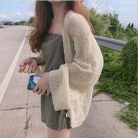 ingrosso cardigan coreano di maglieria estiva-Donne Cardigan a maglia più estate cardigan femminile maglione allentato Hollow Coat sweter Cardigan Top coreano