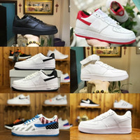 tasarlanmış erkek ayakkabıları toptan satış-Satış 2019 Yeni Tasarım Kuvvetler Erkekler Düşük Kaykay Ayakkabı Ucuz bir Unisex 1 Örgü Euro Hava Yüksek Kadınlar Tüm Beyaz Siyah Kırmızı Rahat ayakkabılar