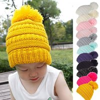 Wholesale crochet baby hat braids resale online - Cute Baby Knitted Hat Girls Winter Soft Pompon Cap Boys Warm Candy Color Crochet Beanies Hat Kids Party Hat TTA1798