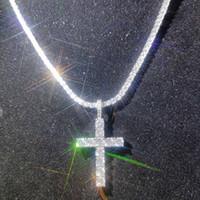 chaîne collier petite boule achat en gros de-Shinning diamant Croix de pierre Pendentifs Collier Bijoux platiné Homme Femme Couple Amoureux Cadeau Bijoux religieux