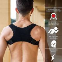 cinturones para la espalda al por mayor-Adulto Adolescente Volver Postura Corrector Soporte para el hombro Cinturón Hombres Corsé Body Shapewear Frenos para el dolor de espalda superior ajustables
