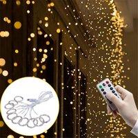 perde telleri toptan satış-Uzaktan kumanda Pencere USB Perde Işıkları Bakır tel 3x3 m 300 LED Peri Dize Işıklar Noel işık Düğün Garland Süslemeleri