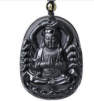 Wholesale hand carved plate resale online - Fashion beautiful black jewelry Natural obsidian carved thousand hands lucky kuan yin amulet pendant necklace beads