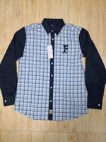 роскошное платье оптовых-Faconnable  High Quality 2019 New Print Shirt Men dress Shirts Long Sleeve Fashion Eden Park Men Cotton Shirts